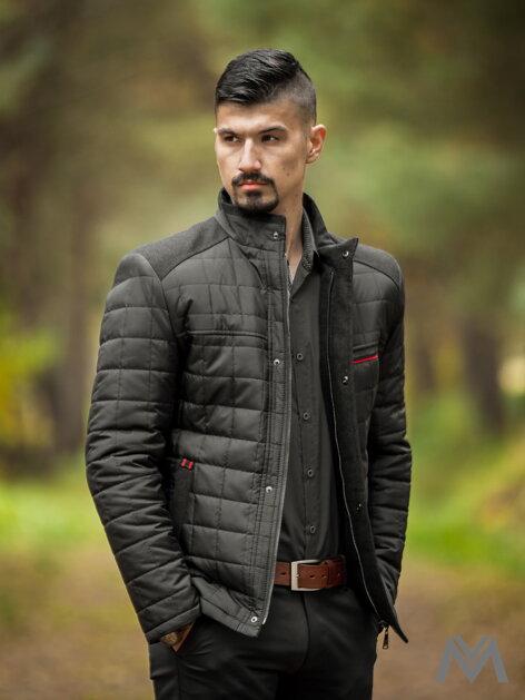 0d50a7c1fd53 Pánska prešívaná bunda čierna