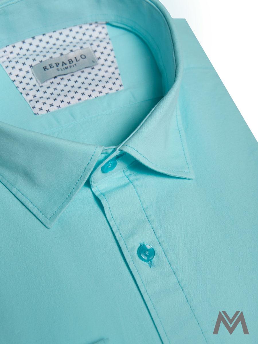 afff44e0fd4d Pánska košeľa s dlhým rukávom KS 1000-18 tyrkysová