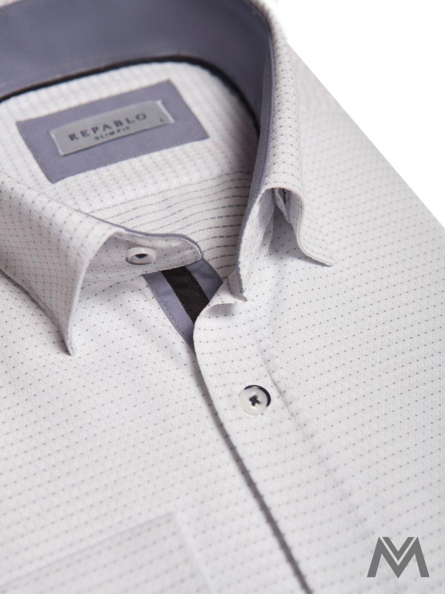 db44eceec pánska košeľa, košeľa s dlhým rukávom, slim fit košeľa, biela košeľa,  vzorovaná