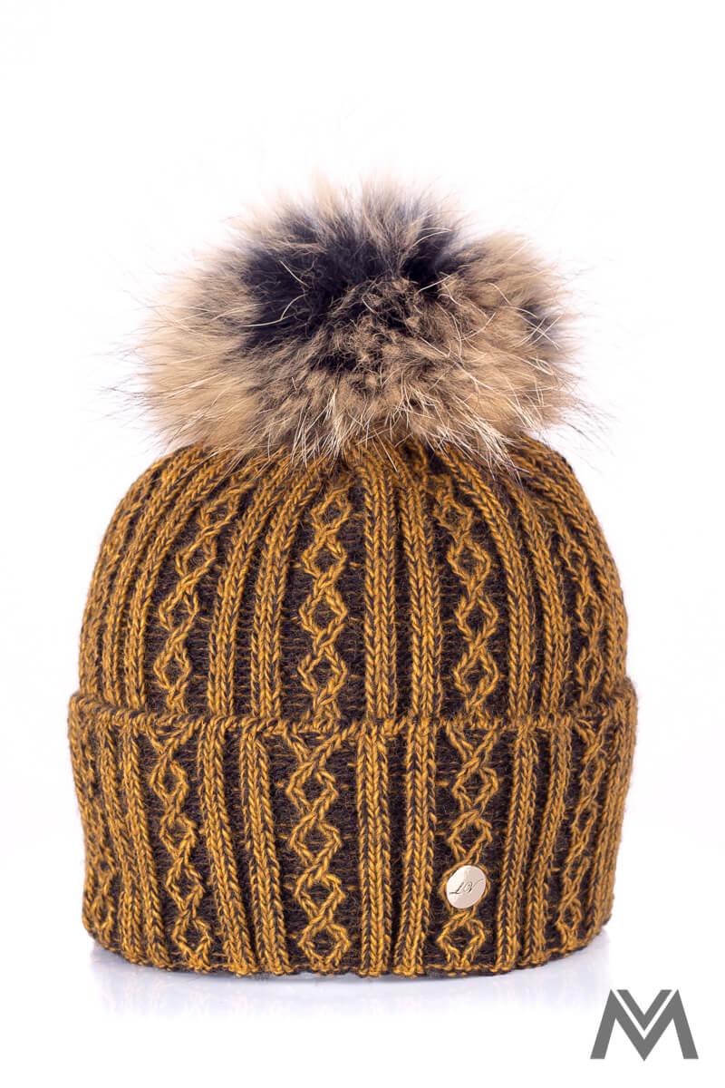 13c69f8f4 Luxusná vlnená čiapka na zimu Marzita horčicová melír