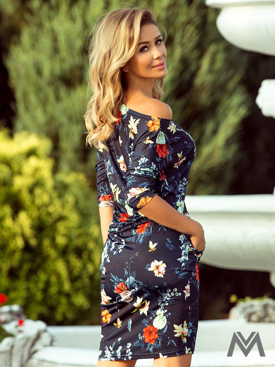 dc53d8cd50d6 Dámske kvetinové šaty 13-91 tmavomodré