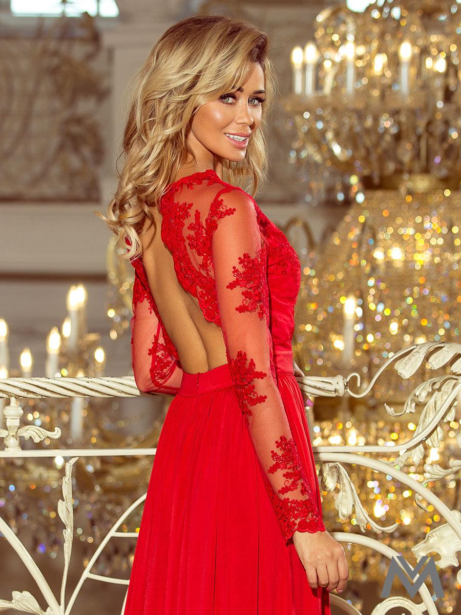 46fb00135008 Dlhé dámske šaty s čipkou 213-3 červené