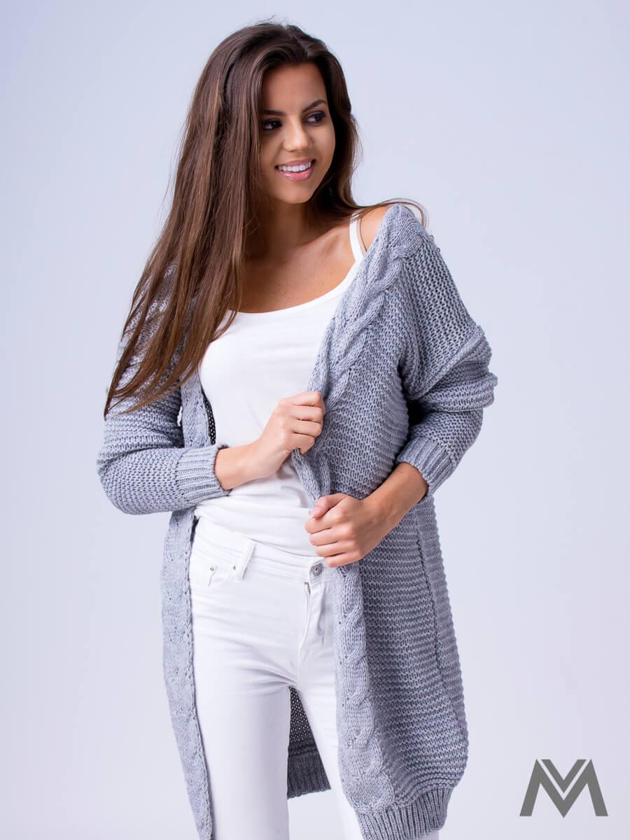 0f625513f7ad Dámsky pletený sveter HENA- svetlo sivý
