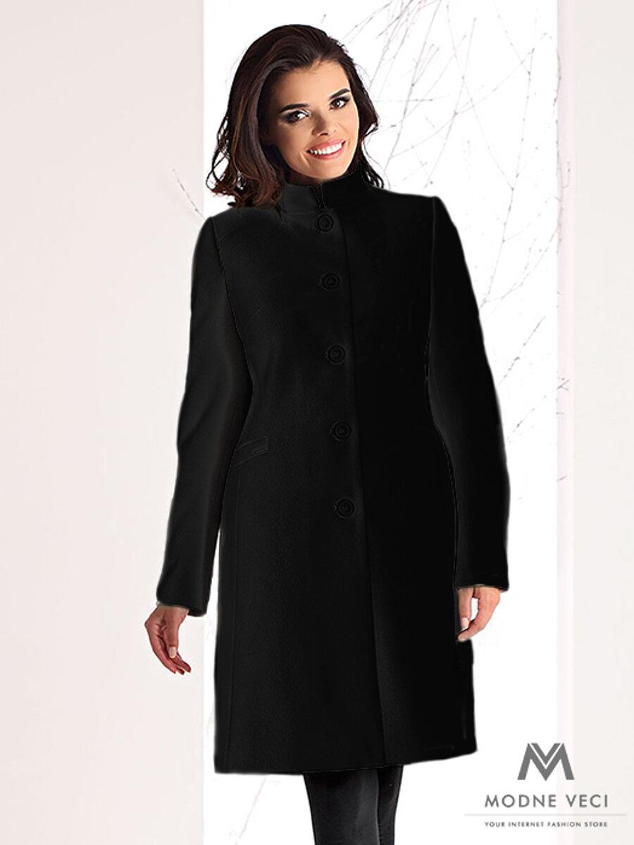 Luxusný dámsky kabát na zimu v SLIMFIT strihu NINA čierny 8db3dc8ffc9