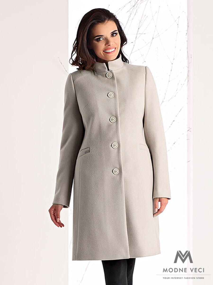 Luxusný dámsky kabát na zimu v SLIMFIT strihu NINA cream nude ... 7a4a55bcb16