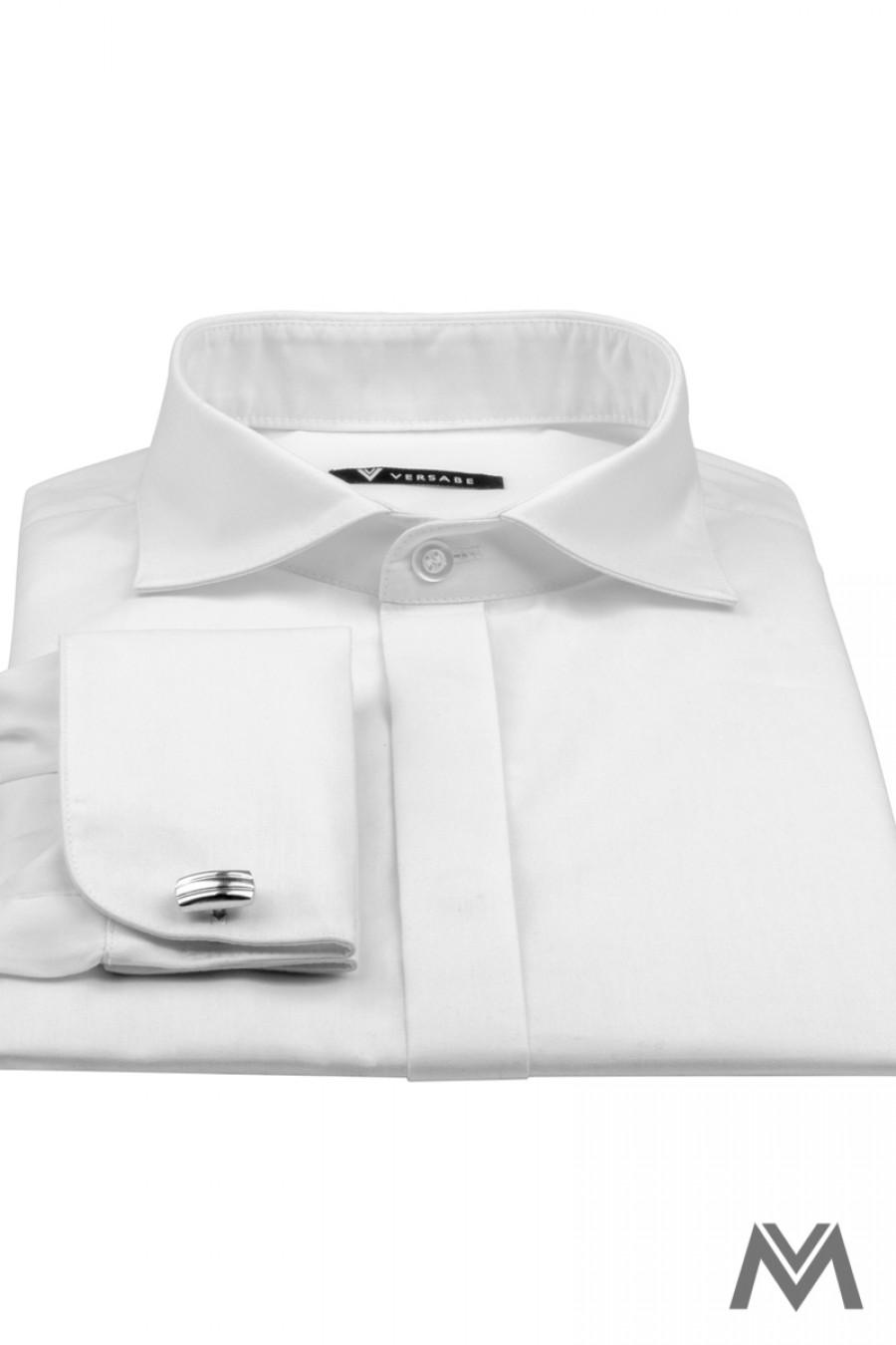 84e160661235 Klasická biela košeľa s krytým zapínaním v strihu SLIM FIT VS-PK ...