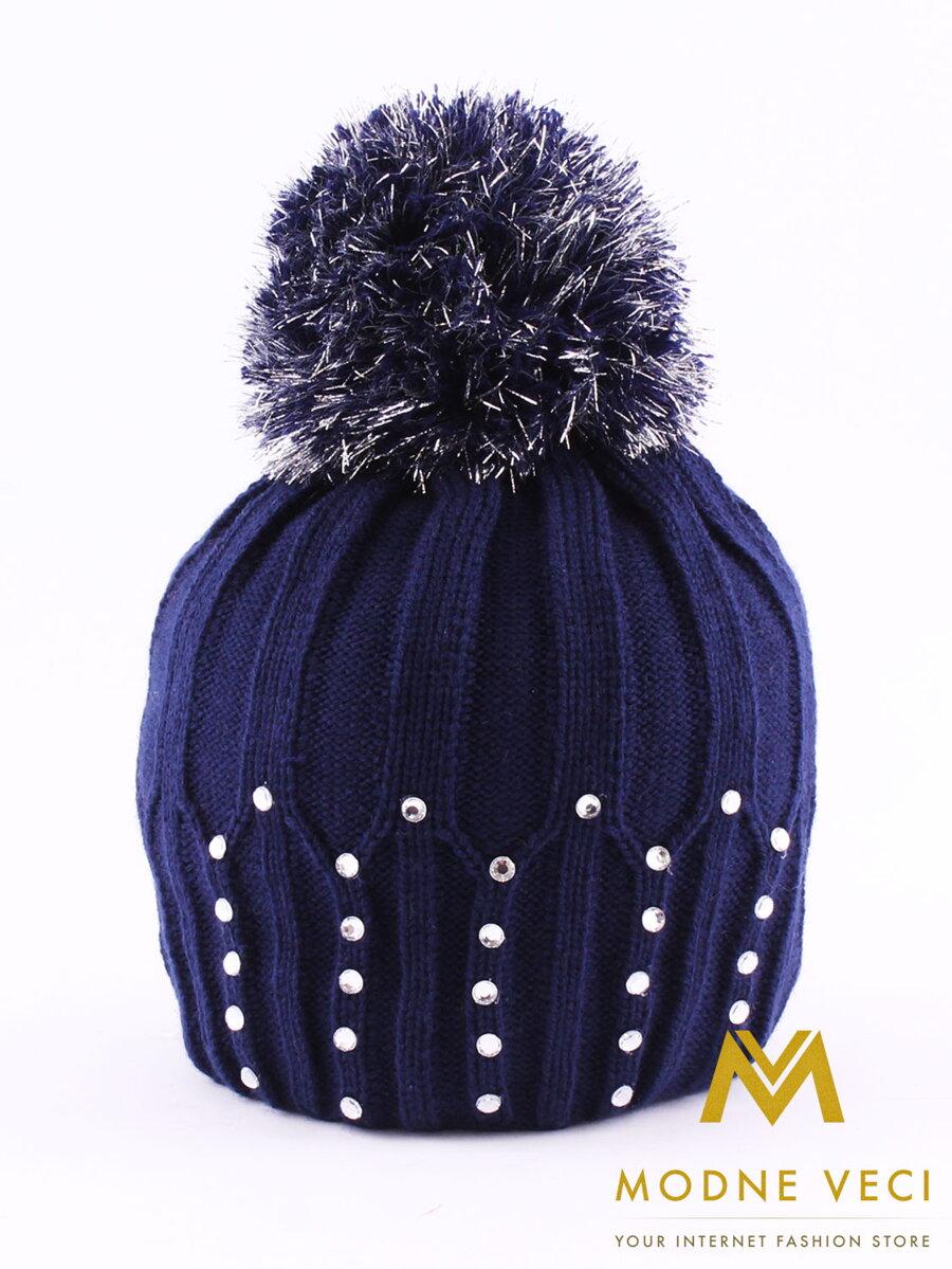 3c513f50e Krásna detská čiapka s brmbolcom - tmavo-modrá farba