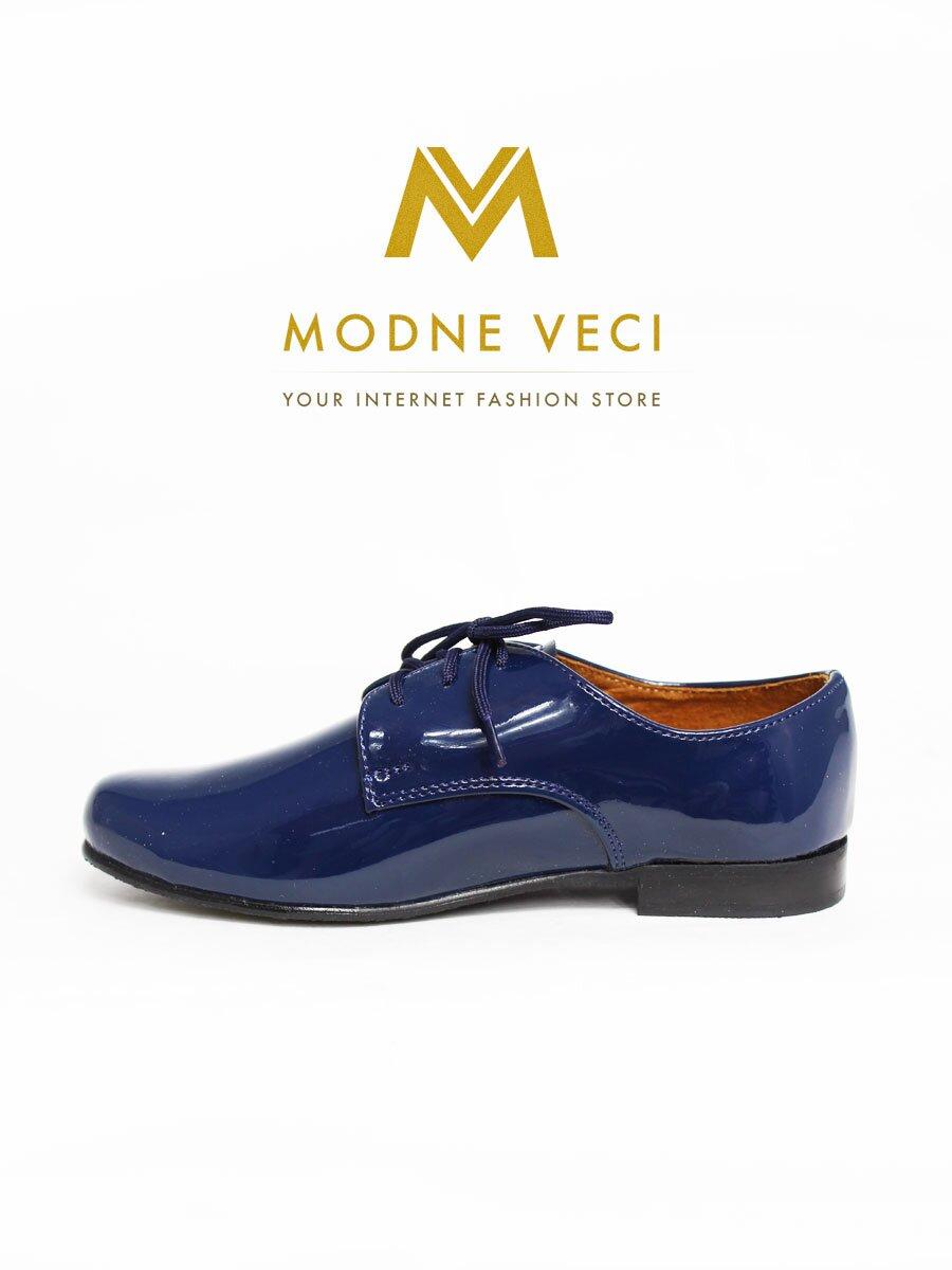 Chlapčenské detské spoločenské kožené topánky 99 L modré  086d2a11a41