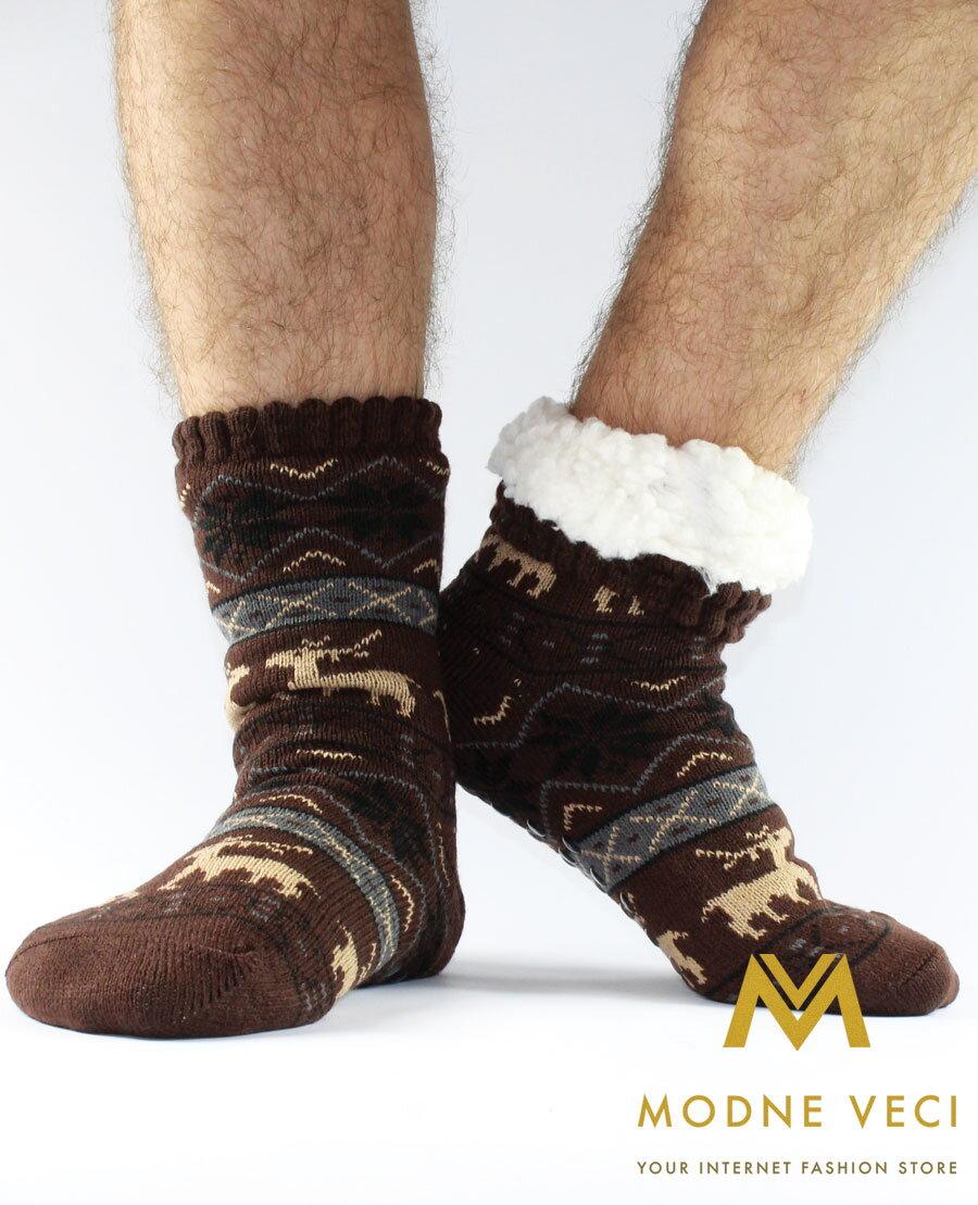 Pánske termo ponožky - protišmykové 12 sobík hnedé  c24cd34ed7