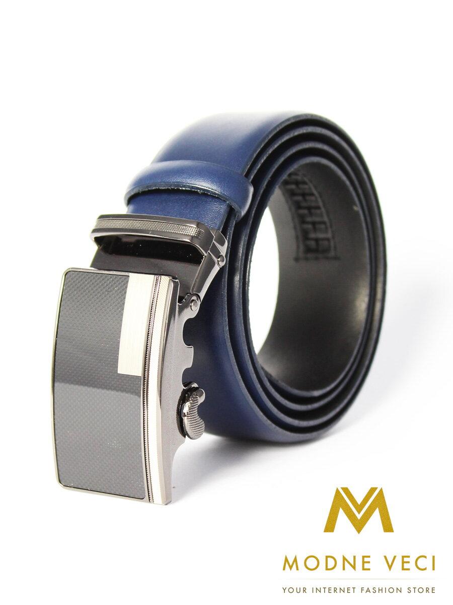 37117da8d Pánsky kožený opasok s automatickou prackou PA35-16-06 modrý ...