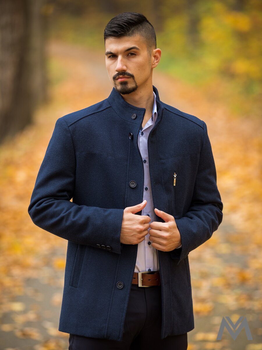 14037f9eea Luxusný pánsky kabát tmavomodrý