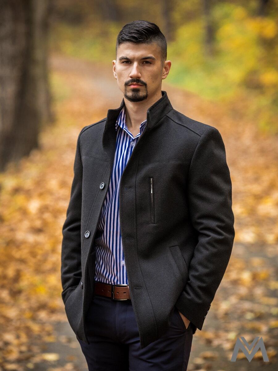 Luxusný pánsky kabát čierny  fa89f9c48fc