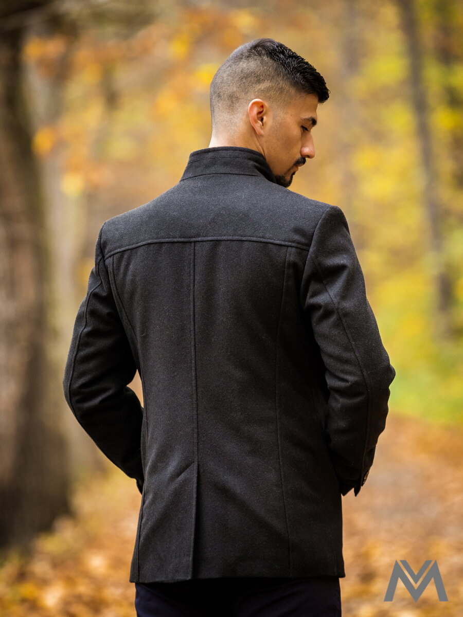 Luxusný pánsky kabát čierny ... 8657fb8c943