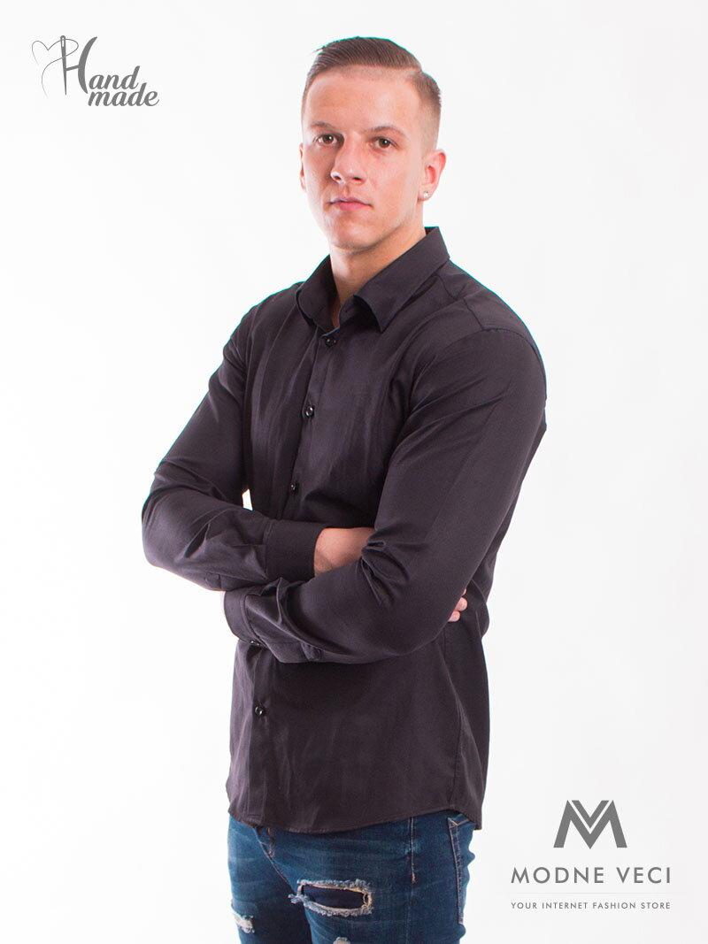 2977461e1bf6 Luxusná pánska košeľa čierna SLIM FIT STRIH VS-PK-1707