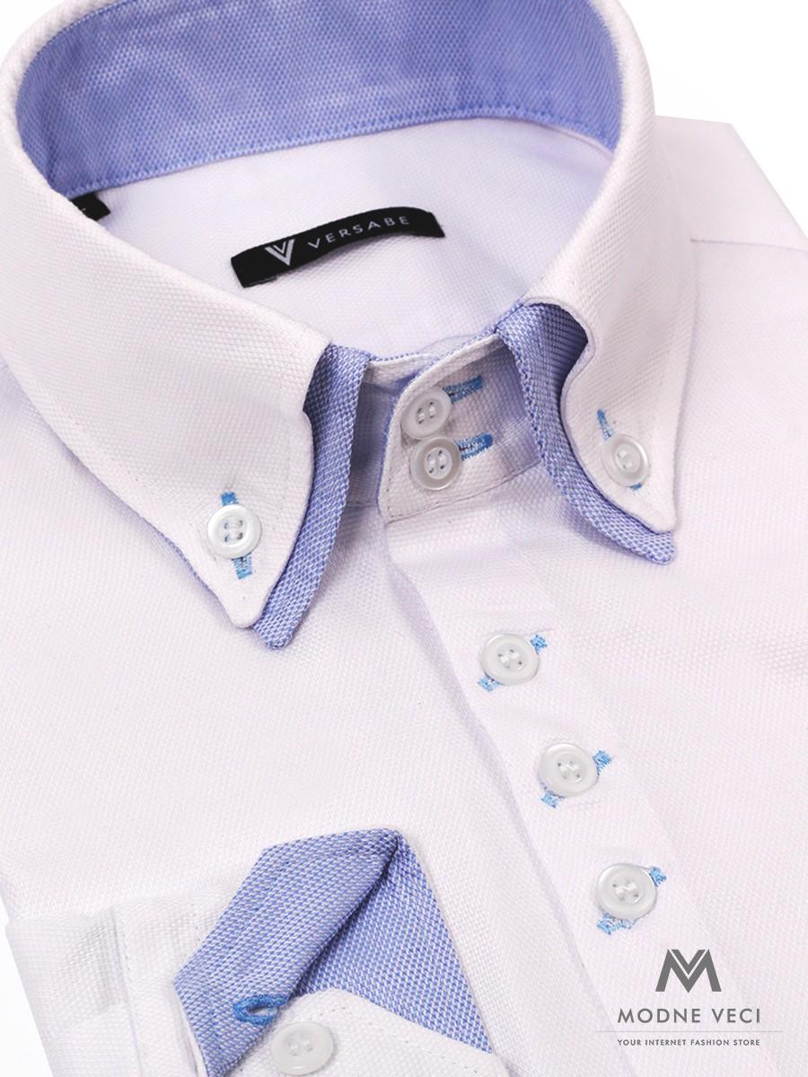 Snehovo biela košeľa pre muža s vysokým dvojitým golierom v bledomodrej farbe