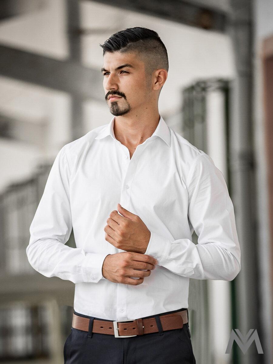 7f52969d8e6a Pánska košeľa so žraločím golierom VS-PK1739 biela 100% bavlna ...