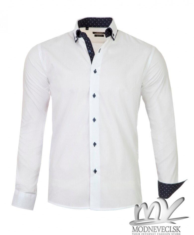 30dd79db26e1 Luxusná pánska košeľa biela SLIM FIT STRIH 1431-1