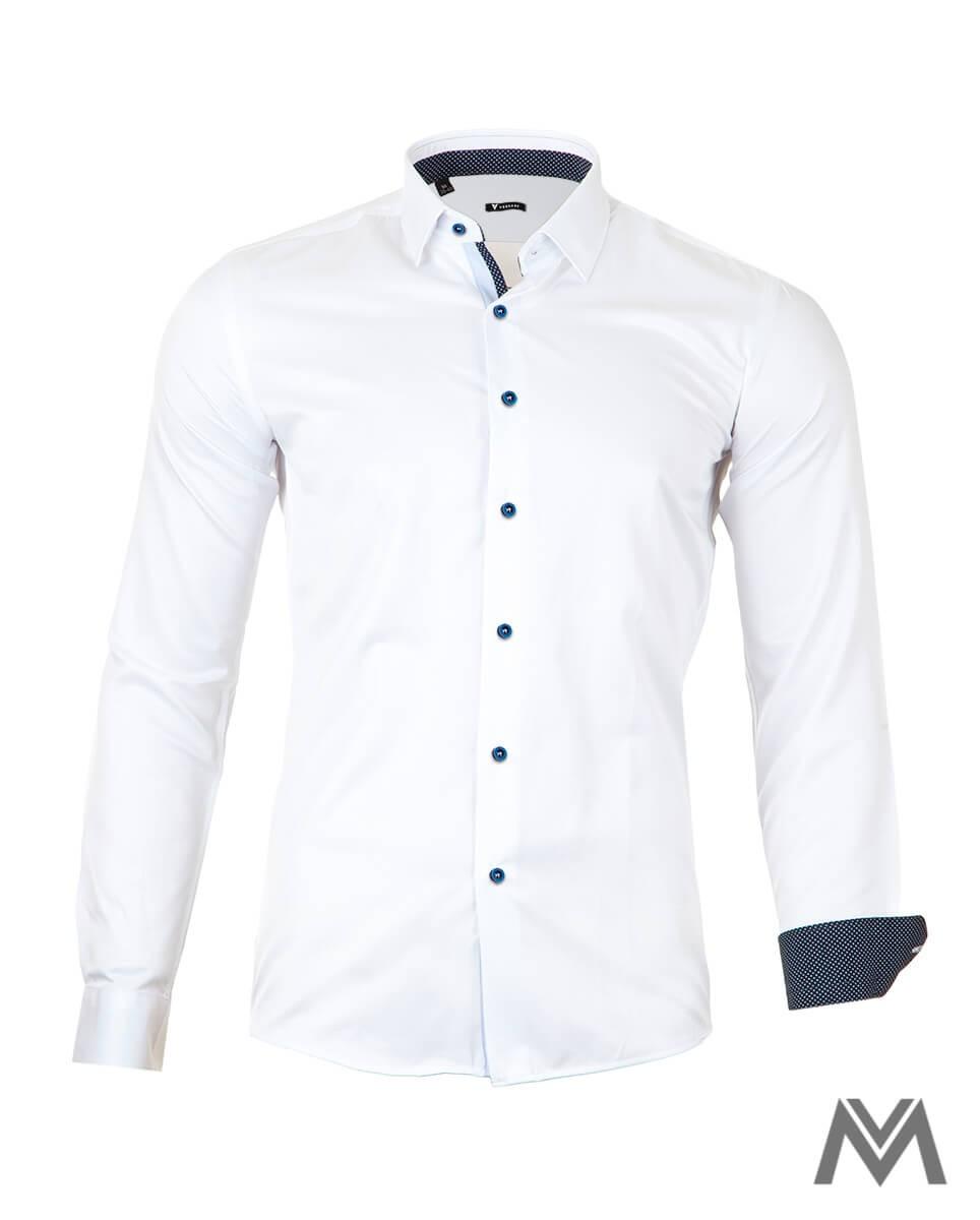 Krásna elegantná košela v bielom prevedení s jemným modrým lemovaním. Košela ma slim strih.
