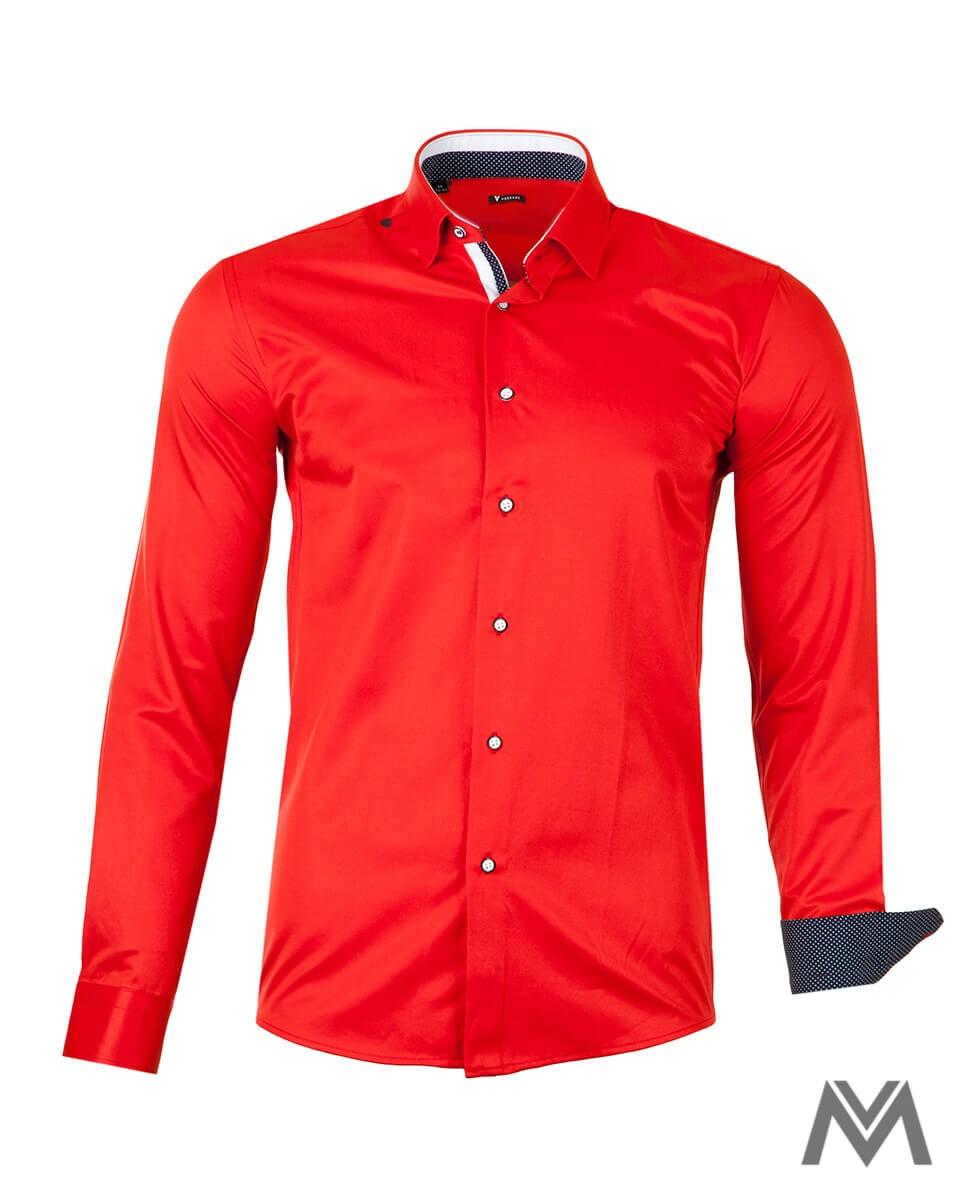 Výrazná červená košeľa z bavlny s obsahom elastanu.