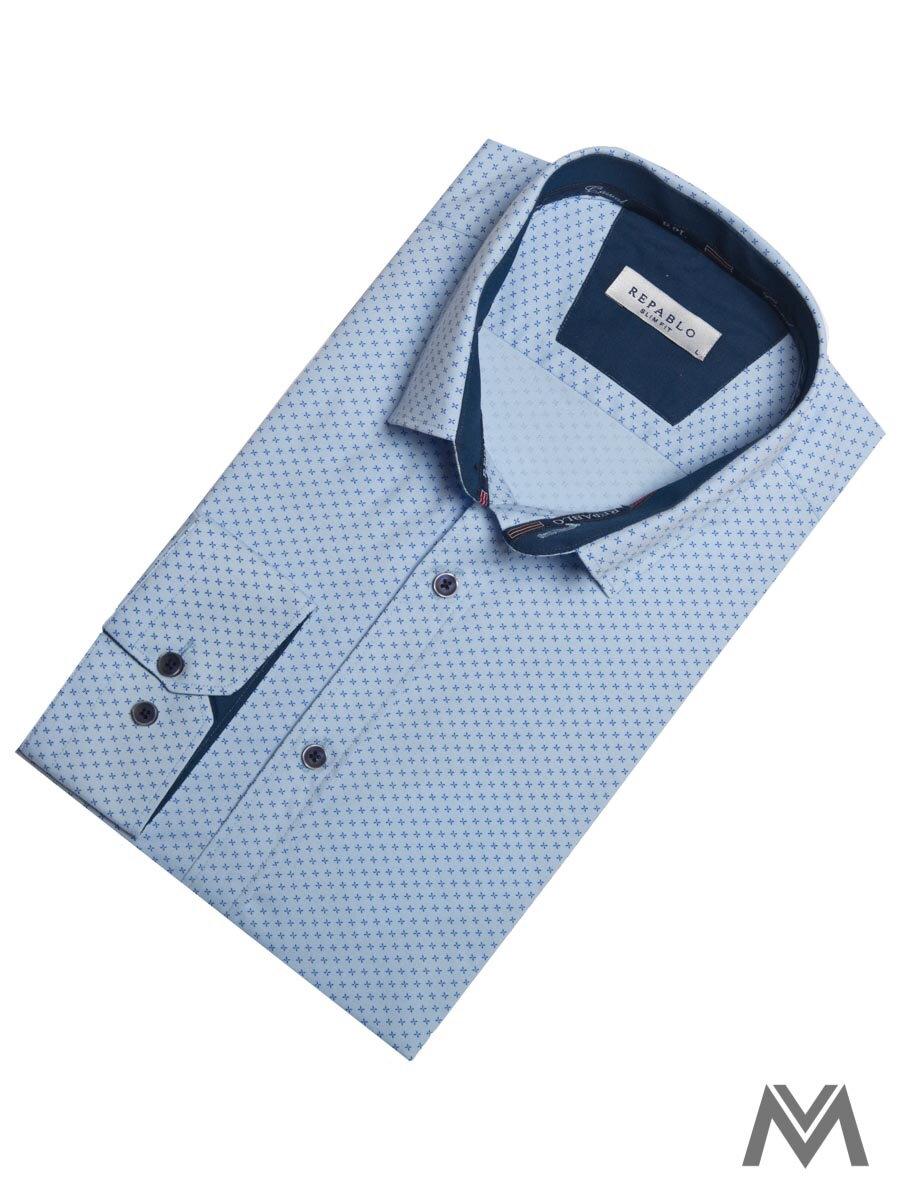 e0cbb807db98 Pánska košeľa s dlhým rukávom KS 1821-4 svetlo modrá so vzorom ...