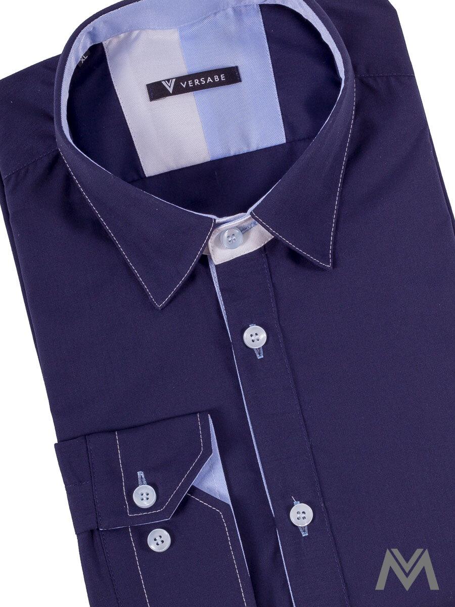f6dde3470971 Pánska košeľa v slim fit strihu VS-PK 1741 tmavo modrá
