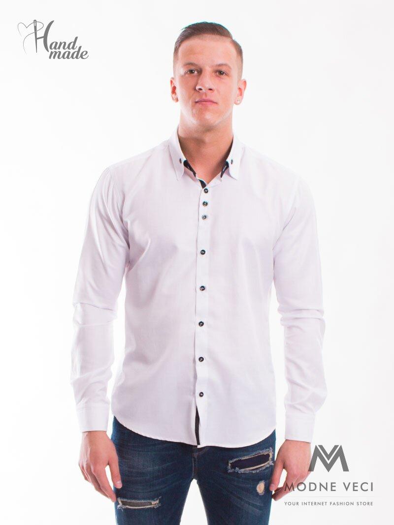 1d8f42ce3840 Luxusná pánska biela športovo elegantná košeľa SLIM FIT STRIH VS-PK ...