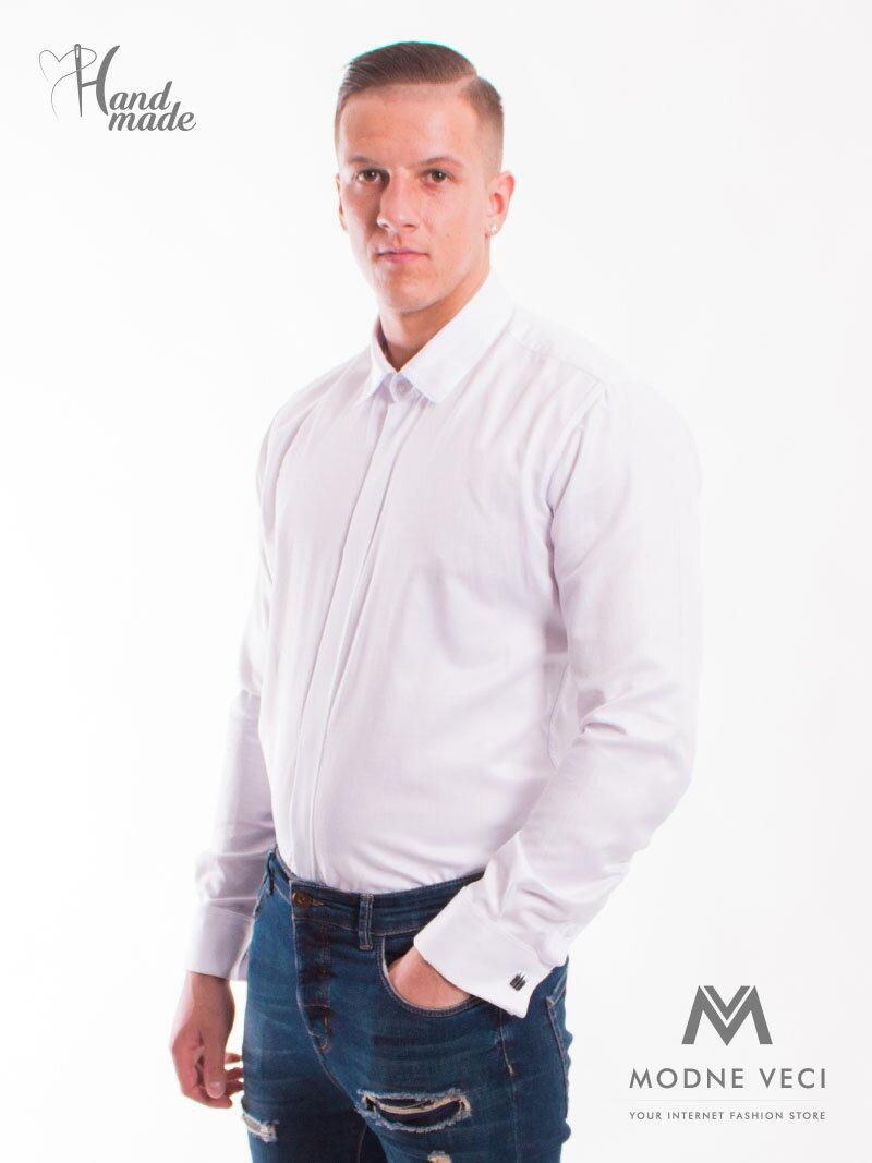 1567435f6203 Luxusná pánska biela lesklá košeľa s manžetovými gombíkmi SLIM FIT STRIH  VS-PK-1712