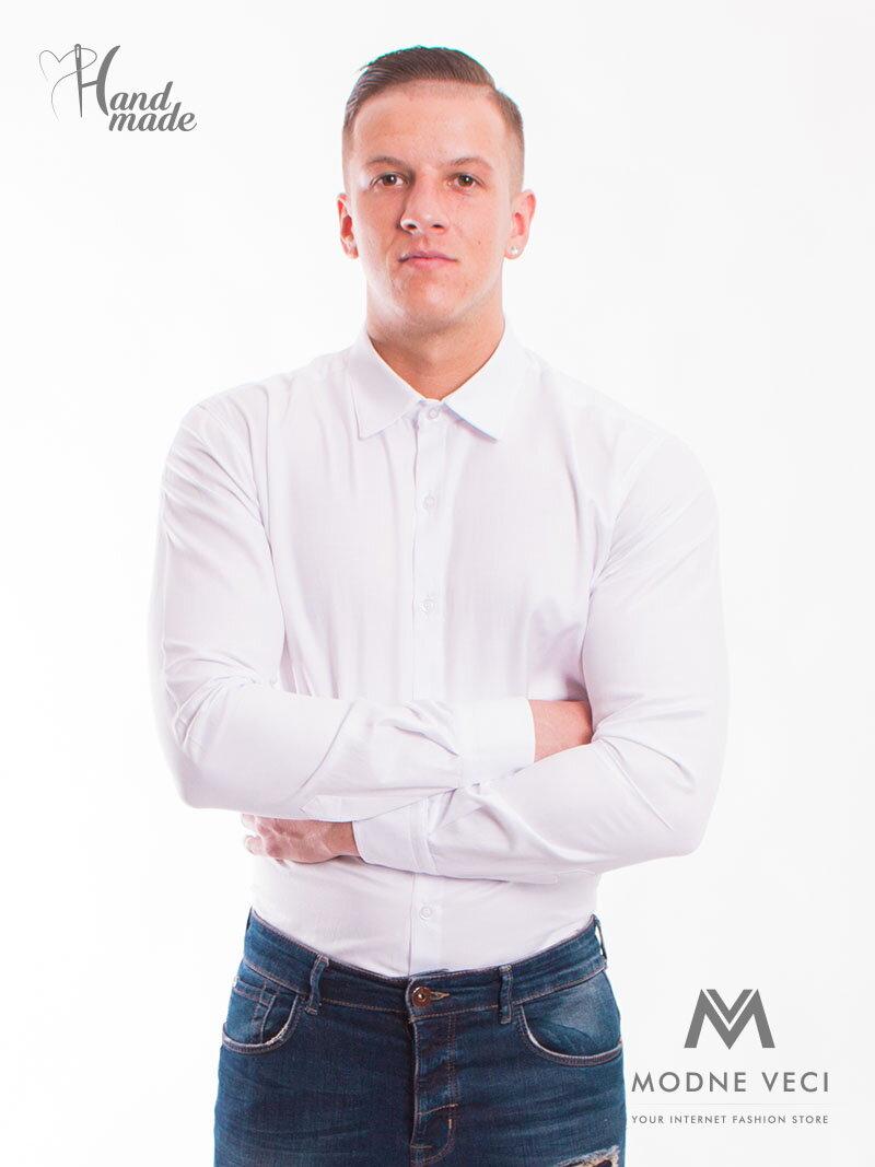 336675d27408 Klasická biela mierne lesklá košeľa v strihu SLIM FIT VS-PK-1714