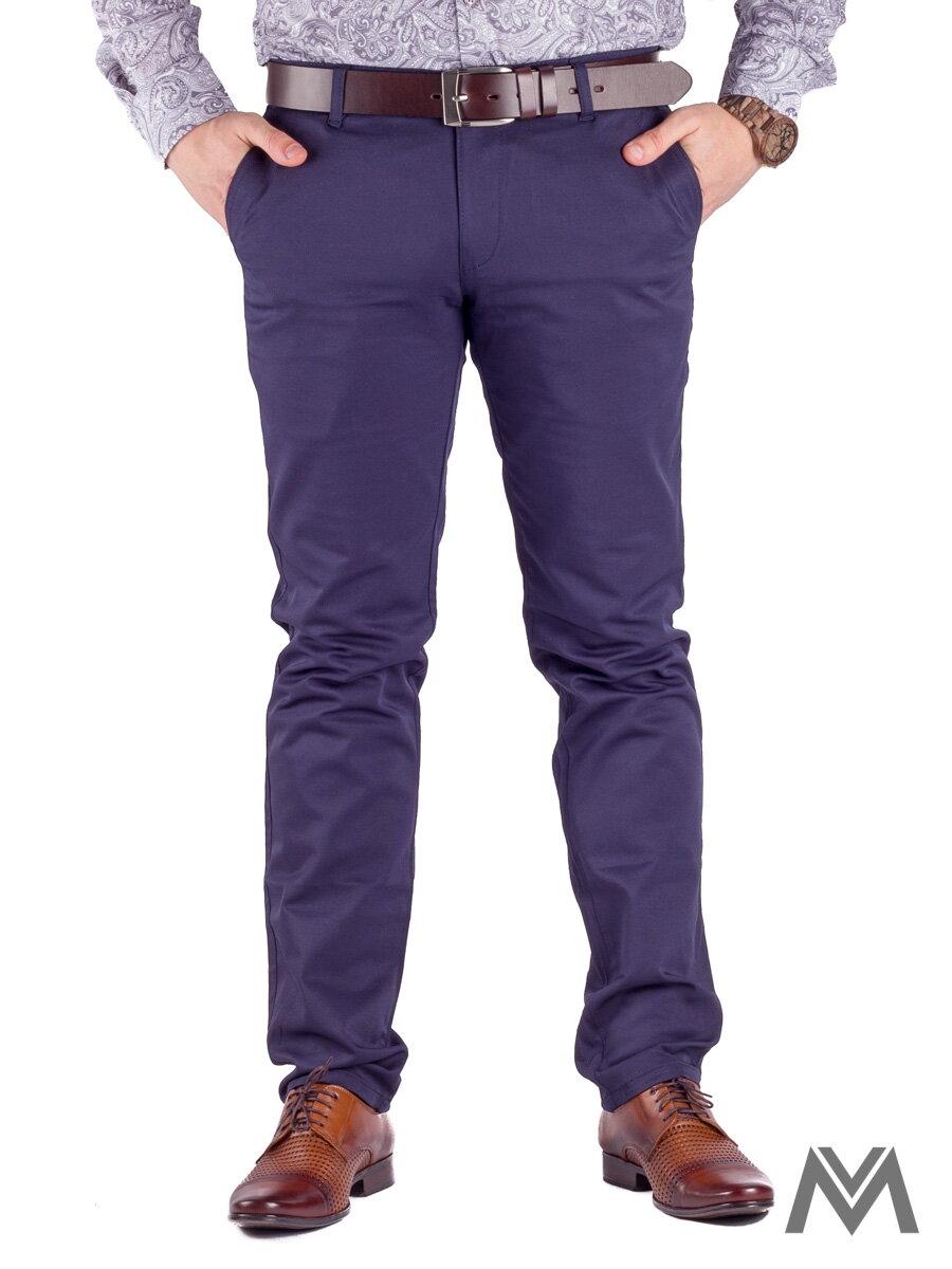 86a3e6d2ad65 Slimkové pánske nohavice 48-2 tmavo- modrá