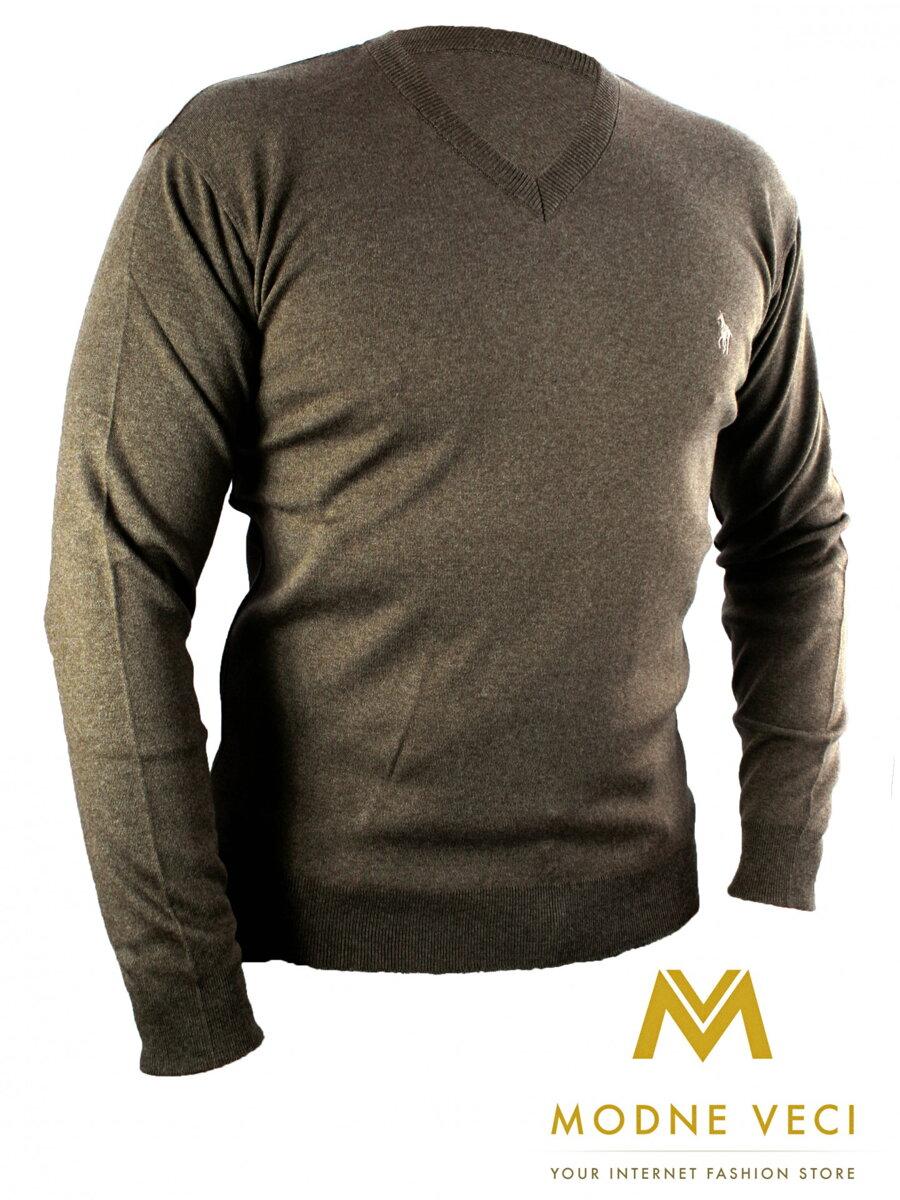 d371dcfa8f47 Pánsky sveter N02 tmavo hnedý