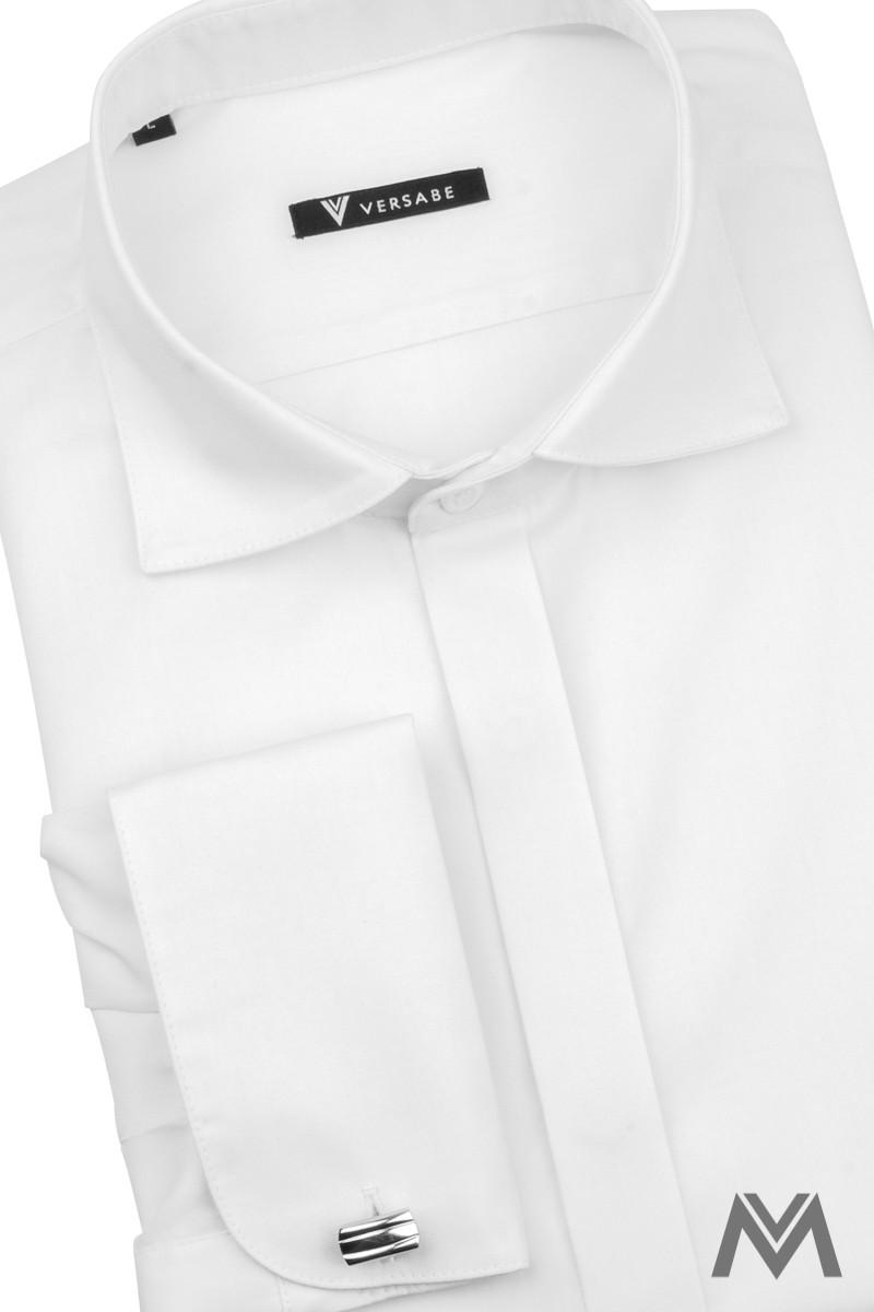 Moderná biela košeľa do oblekov s krytým zapínaním gombíkov