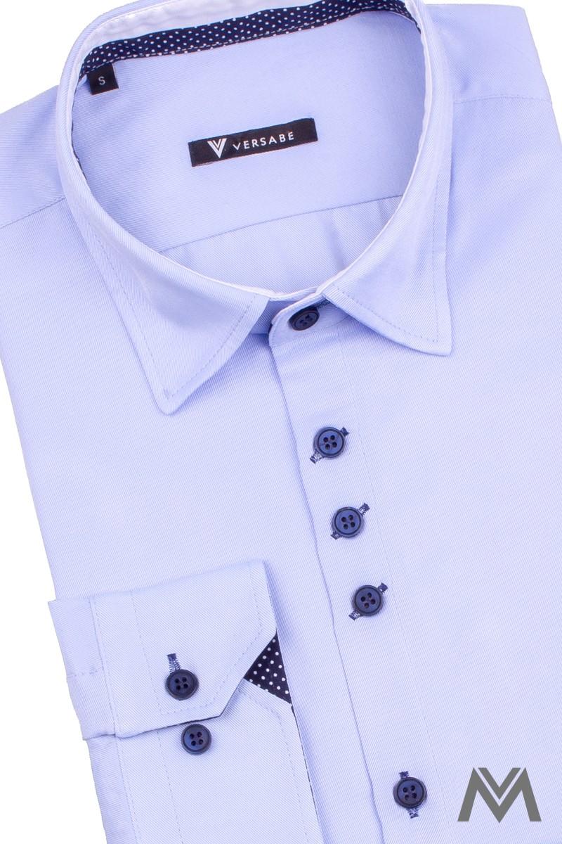 Štýlová košeľa pre moderného muža v bledomodrej farbe s bodkami
