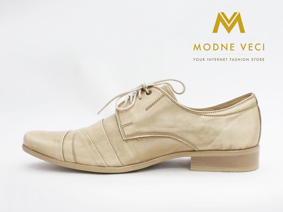 71906fbf4fb8c Pánske spoločenské kožené topánky biele so zlatým nádychom 116 ...