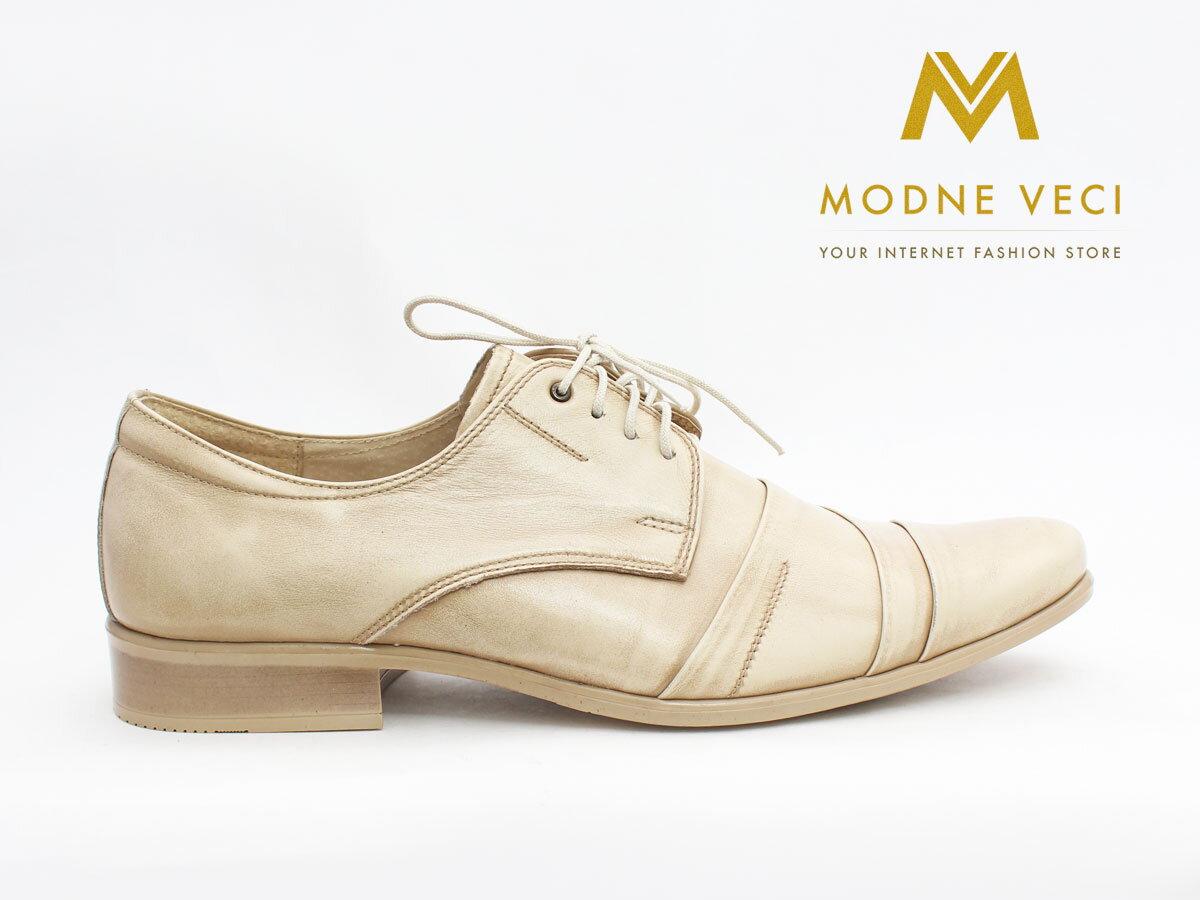 7959b2ee4a Pánske spoločenské kožené topánky biele so zlatým nádychom 116