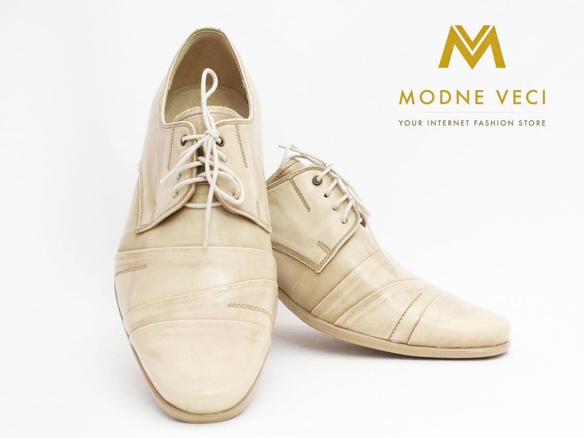 020ca08fdce8 Pánske spoločenské kožené topánky biele so zlatým nádychom 116 ...