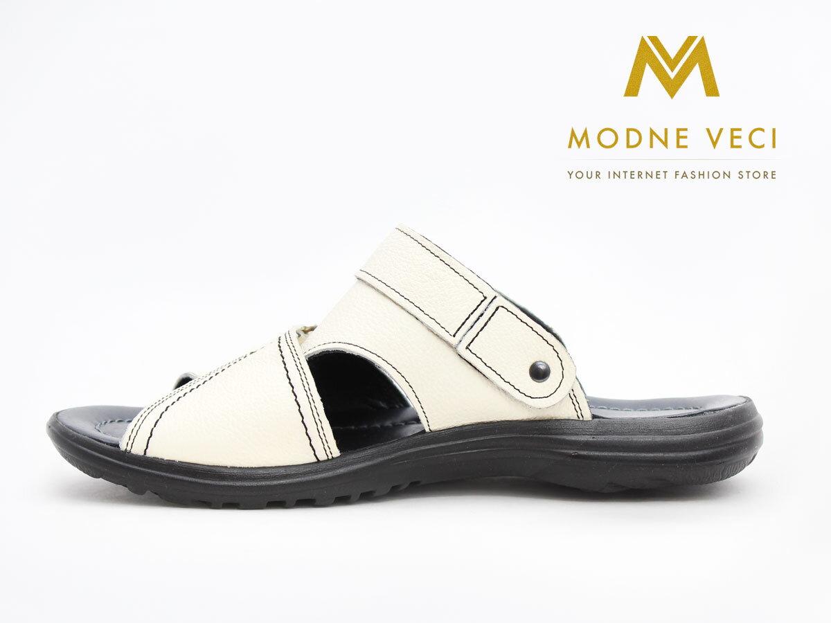 557071f3052e Pánske celo kožené sandále a šľapky v jednom biele