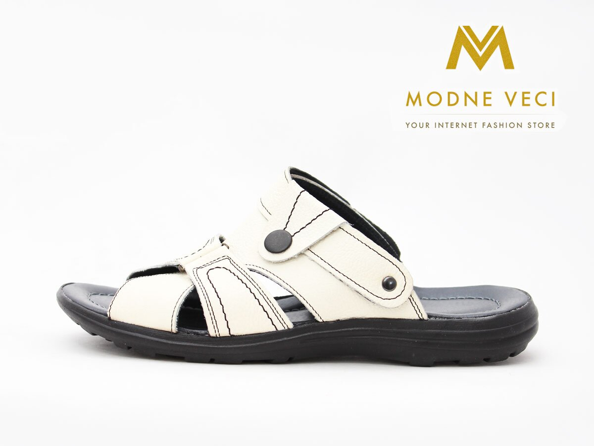 fee944e88529 Pánske celo kožené sandále a šľapky v jednom biele