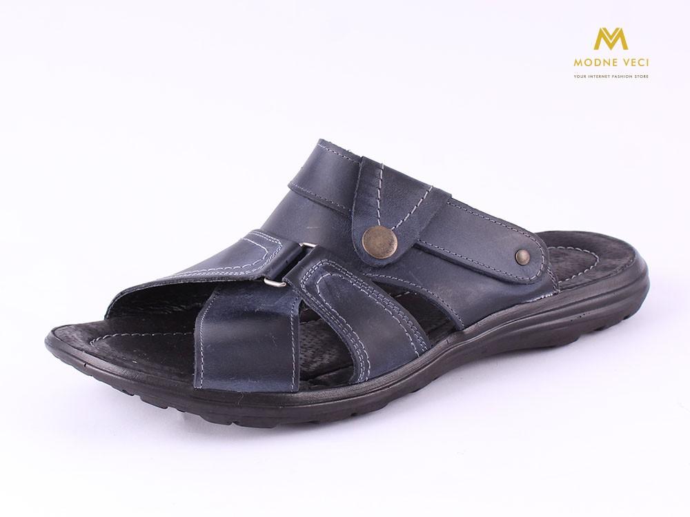 13030fe6a9 Pánske celo kožené sandále a šľapky v jednom - modré