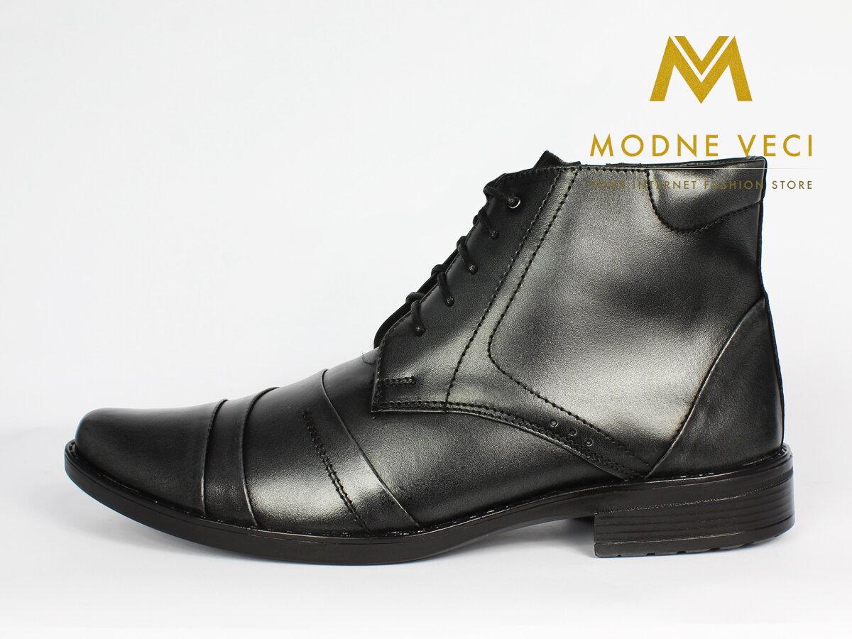 1c1a9f7099 Elegantné kožené topánky pre muža na zimu 85-4b sivé