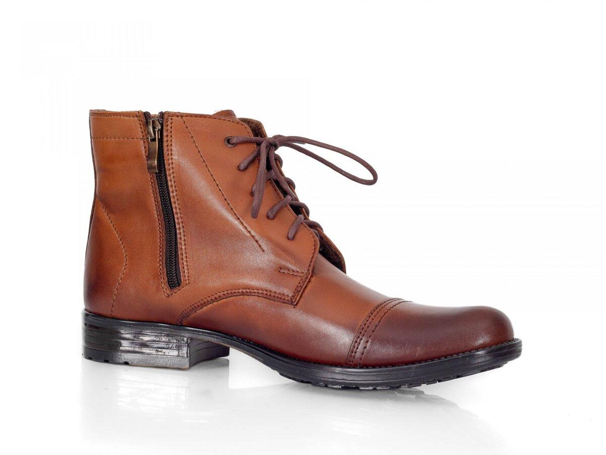 a2097469b9aa Pánske elegantné kožené topánky zimné 87-C hnedé