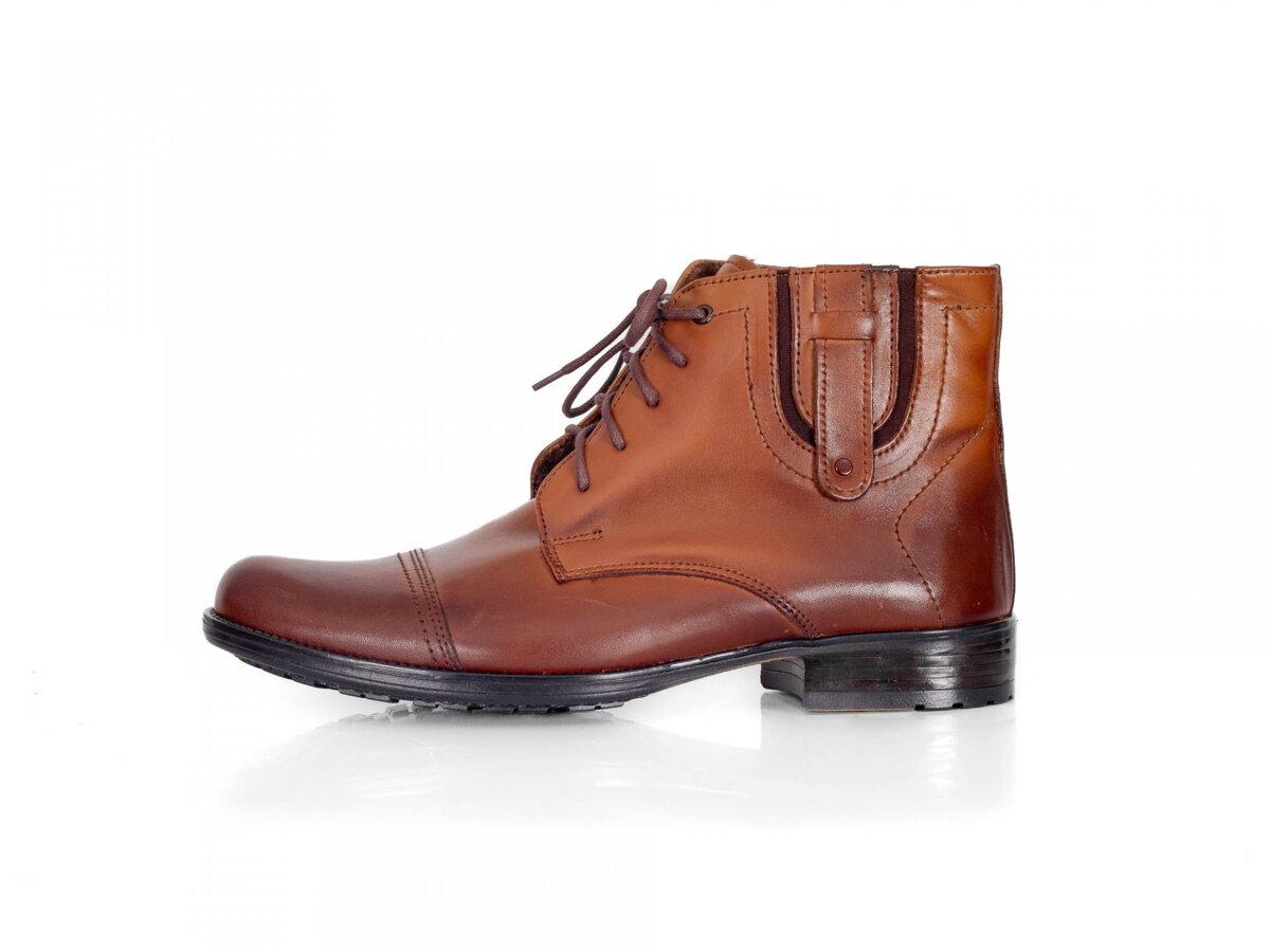 Pánske elegantné kožené topánky zimné 87-C hnedé  8b246f4f92f