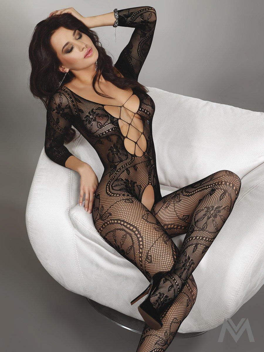 Erotické bodystocking Beatriz v čiernej farbe