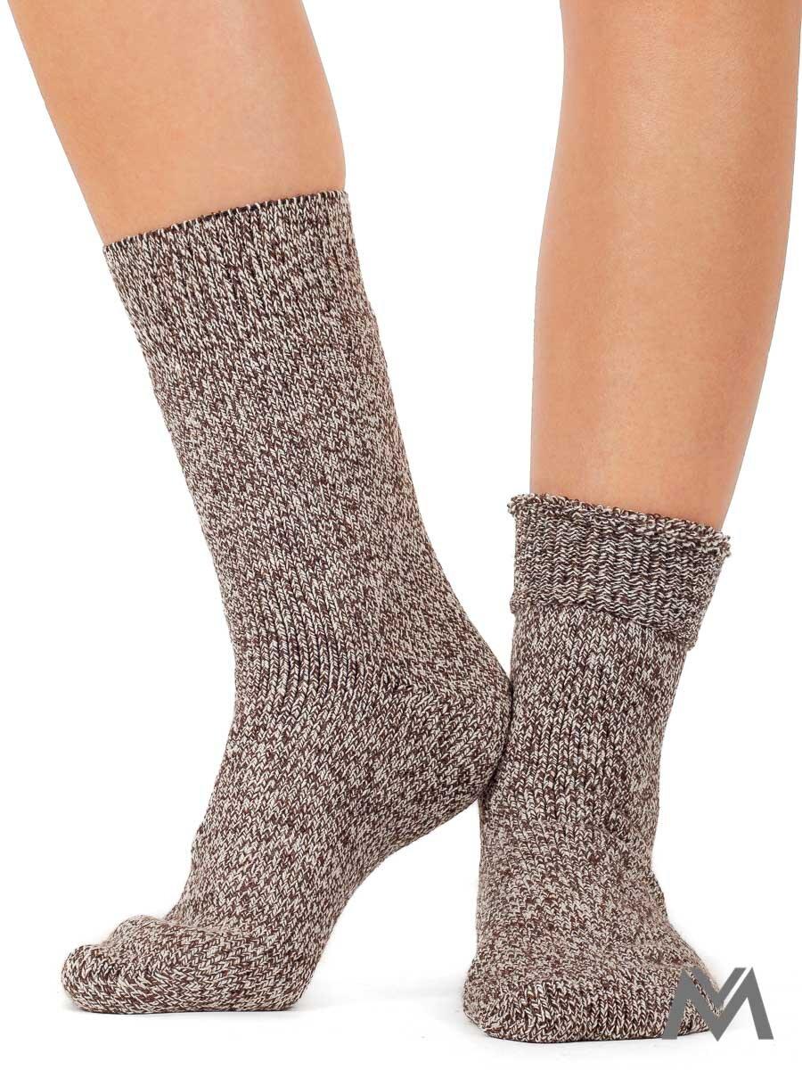 7f1897e5e8a Dámske THERMO vlnené ponožky hnedo biele