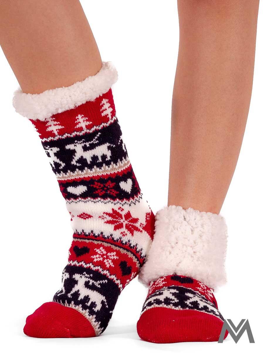 50dbfbf7474 Termo ponožky vianoce červené