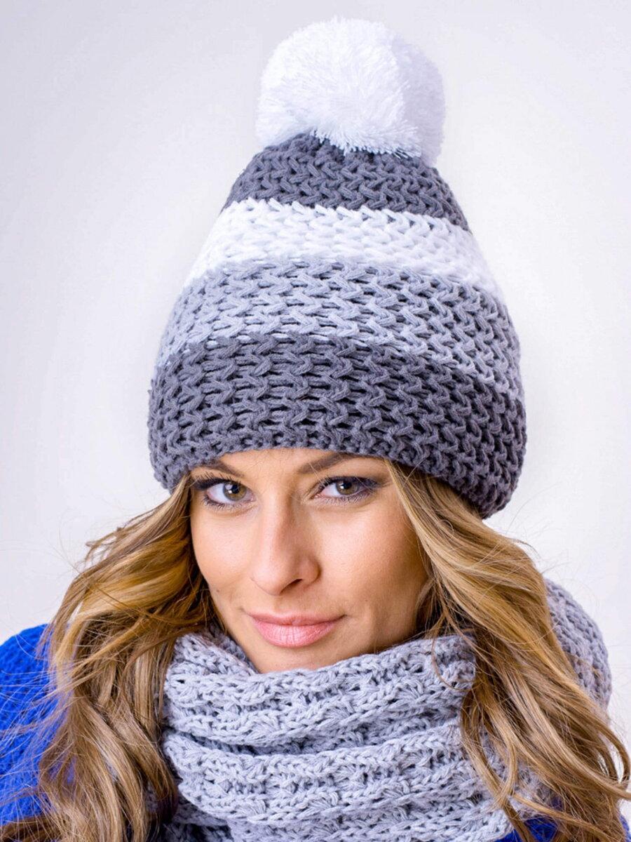 17a93c0ba147 Zimný set čiapka+šál sivý