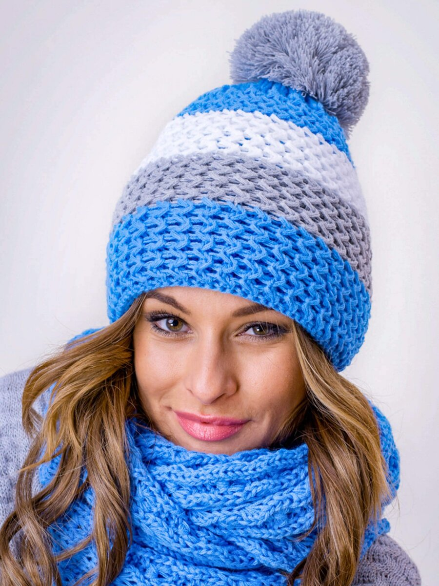 f1d2d5b65 Zimný set čiapka+šál modrý
