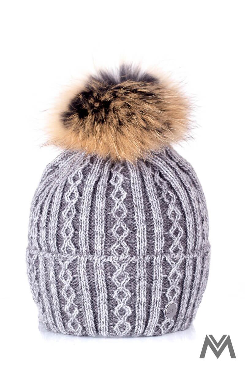 1711370cc Luxusná vlnená čiapka na zimu Marzita šedá melír  ModneVeci.sk