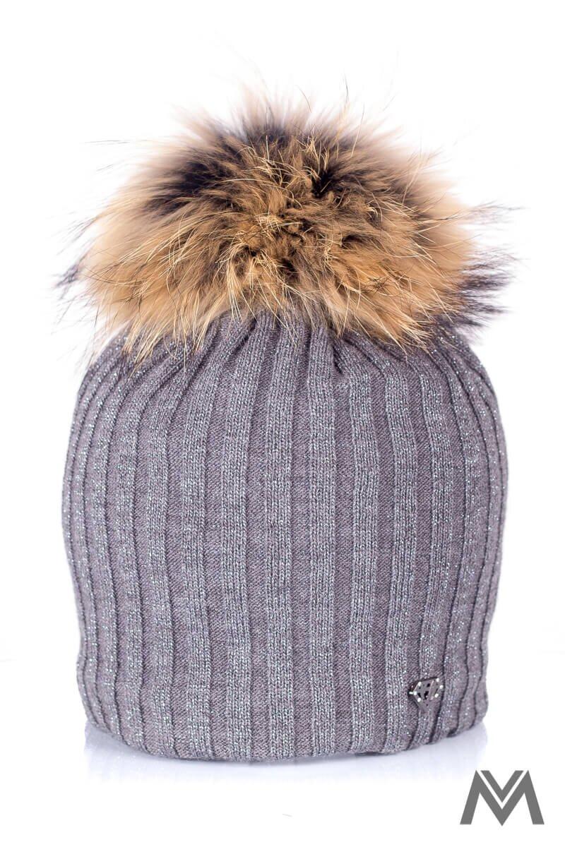 02a02189f Trblietavá čiapka na zimu s prúžkami ROKSI tmavá sivá| ModneVeci.sk