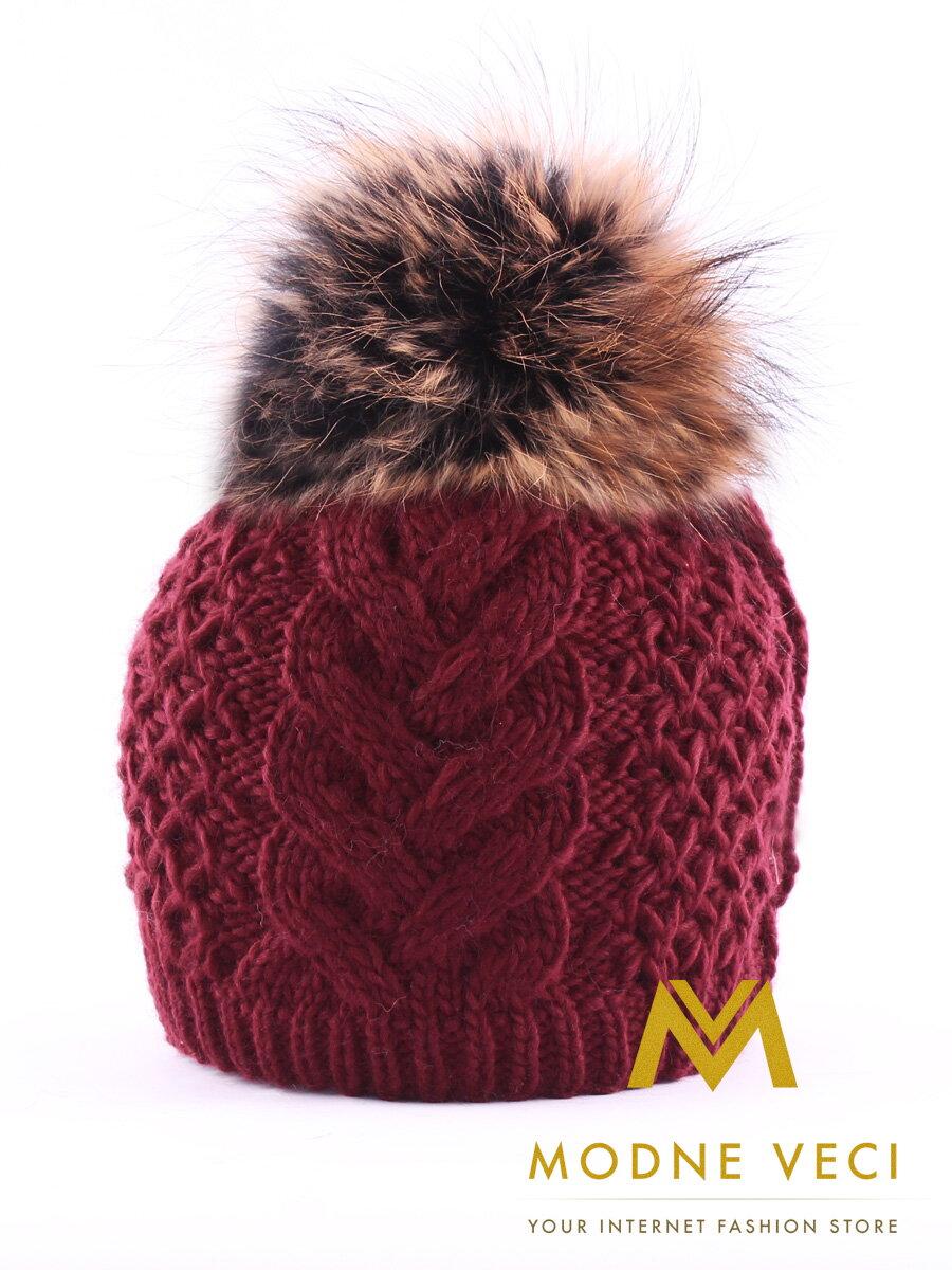 df6093629 Dámska čiapka s brmbolcom z pravej kožušiny Ania - vínová| ModneVeci.sk