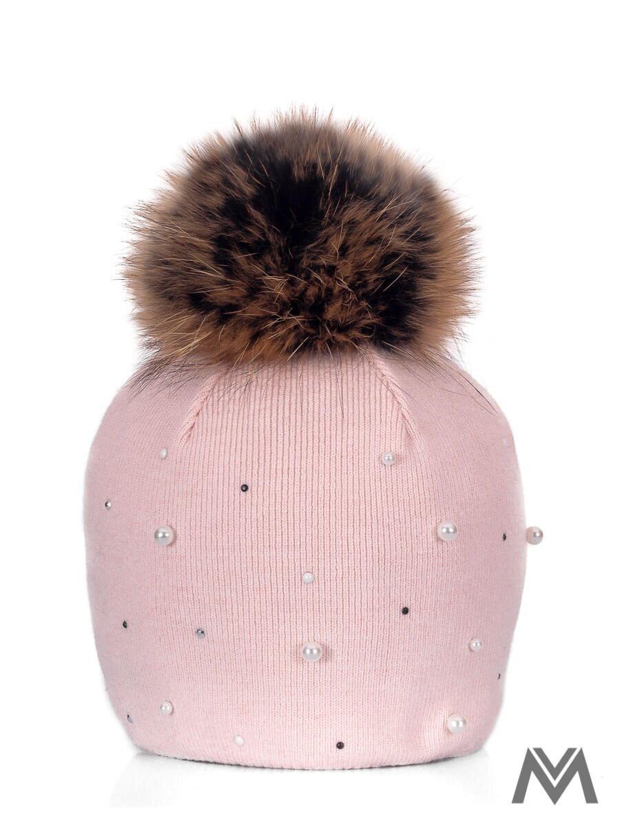 7dbd5c0d7 Dievčenská čiapka s pravým brmbolcom ružová perla | ModneVeci.sk